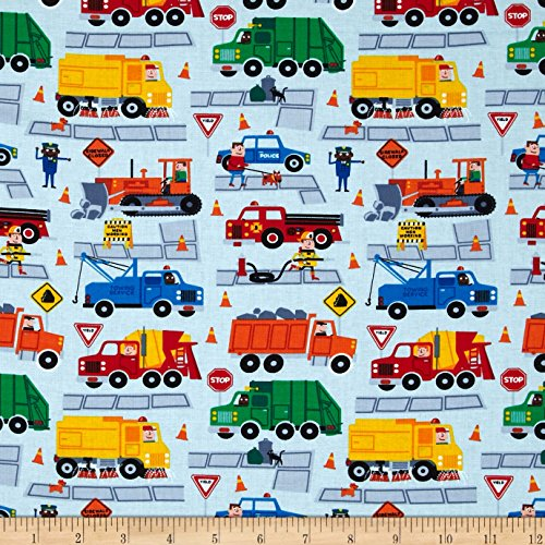 Timeless Treasures Trucks Sky Fabric By The Yard