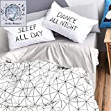 BuLuTu Diamond Grid Print Queen Bedding Collections Cotton Geometric Kids Duvet Cover Sets Full White Grey For Teens Adults (1 Duvet Cover + 2 Pillowcases)