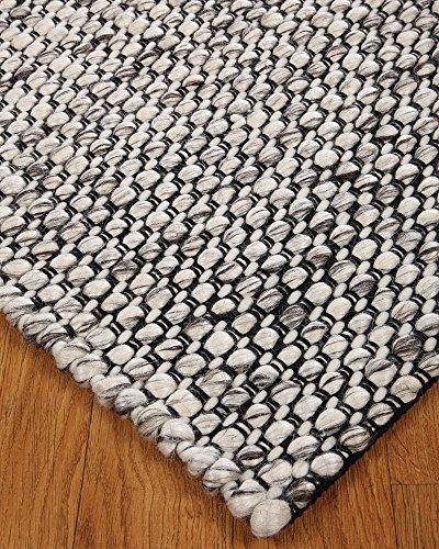 Natural Area Rugs Aros Collection Handmade Eco Friendly 6 Feet by 9 Feet Wool Rug, Gray (6' x 9') - Aros Shag Rug