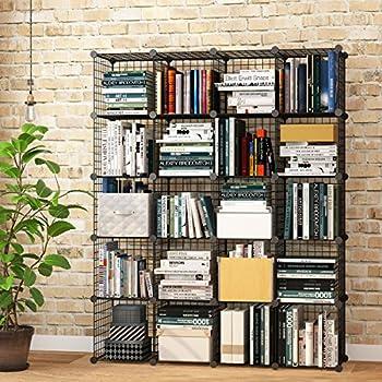 kousi wire cube storage metal shelving unit bookcase diy closet system 20 grids black