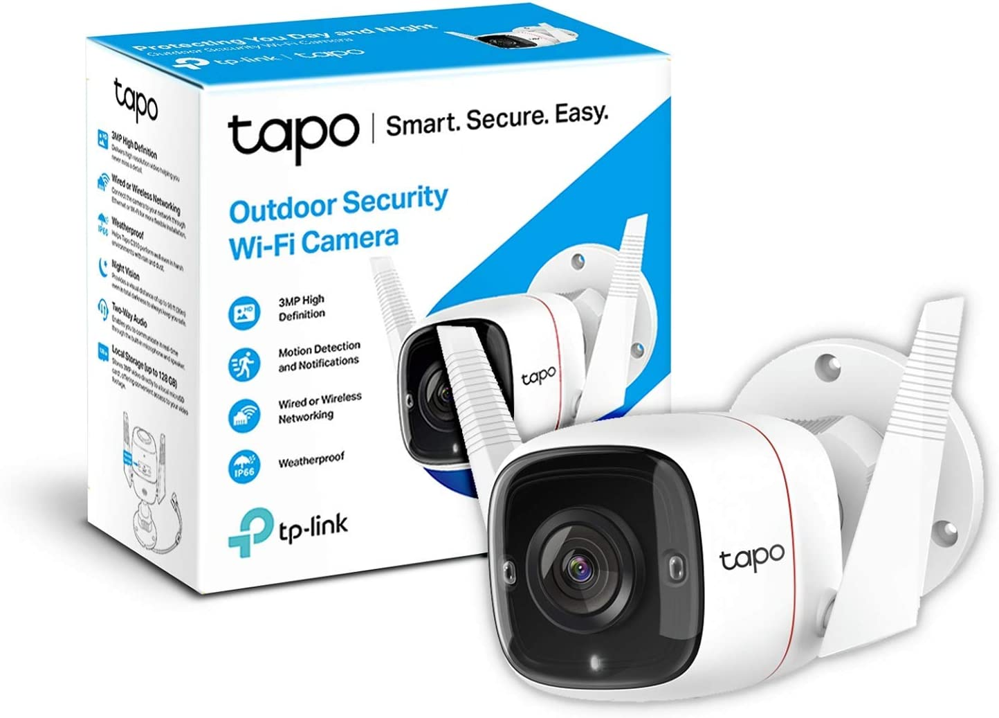 TP-Link TAPO Camara Vigilancia wifi Exterior, 3MP Alta Resolución, IP66 a Prueba de Agua y Polvo, Hasta 30m Visión Nocturna, Detección de Movimiento & Alarma Instantánea, Admite Tarjeta SD de 128G