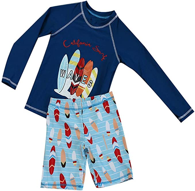 Jojobaby Baby Boys Toddler Two Pieces Swimwear Long Sleeve Rash Guard Set with Cap