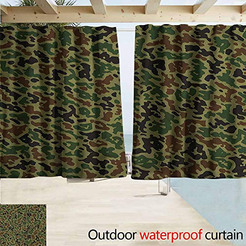 Outdoor Blackout Curtains Camo Summer Grungy Pattern Rod Pocket Energy Efficient Thermal Insulated W63x45L Inches