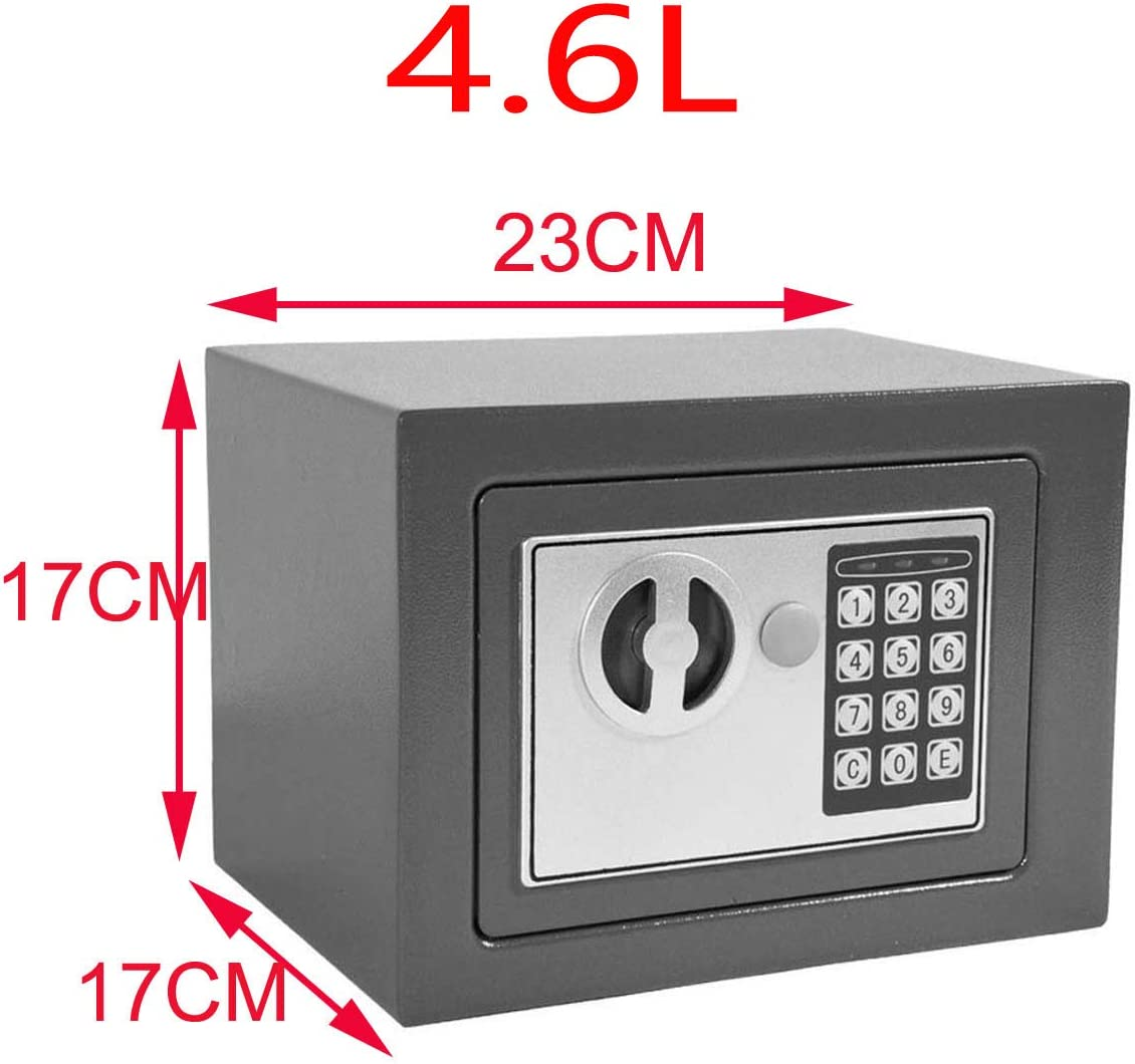 4.6L Safe Electronic Security Box Digital Password /& Keys Combination Lock for Home Office Hotel Antitheft Wall Mounted Steel Safety Box Storage Cash Money Jewelry Black