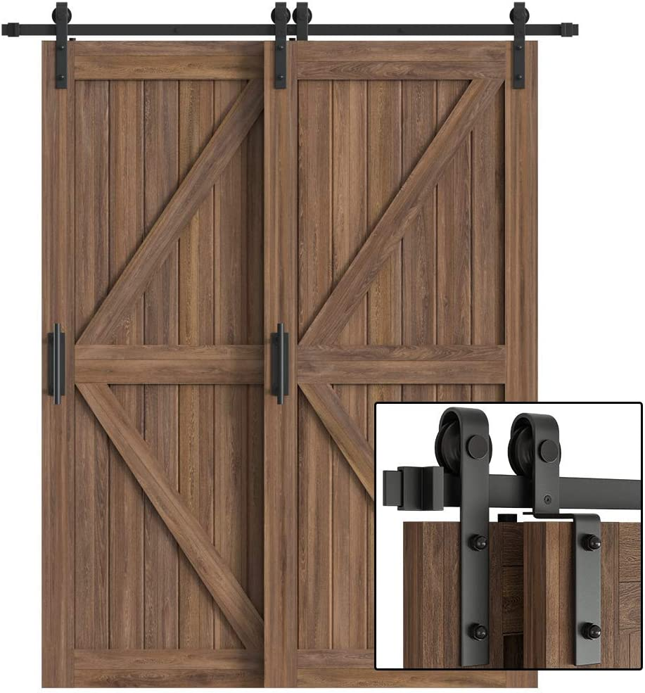 WINSOON 5ft Bypass Barn Door Hardware Sliding Kit 5-16FT for Interior Exterior Cabinet Closet Doors With Hangers 2 x 5FT Rail J Shape Roller