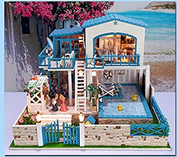 Amazon Com Unique Big Size Diy Doll House Full House Star White