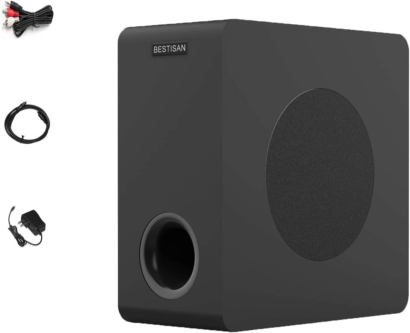 BESTISAN Powered Subwoofer, Compact Subwoofer for Home Audio Theater, Deep Base, Built-in Amplifier Wireless Subwoofer for TV, Optical/RCA/Bluetooth (6.5 Inch, Black,)