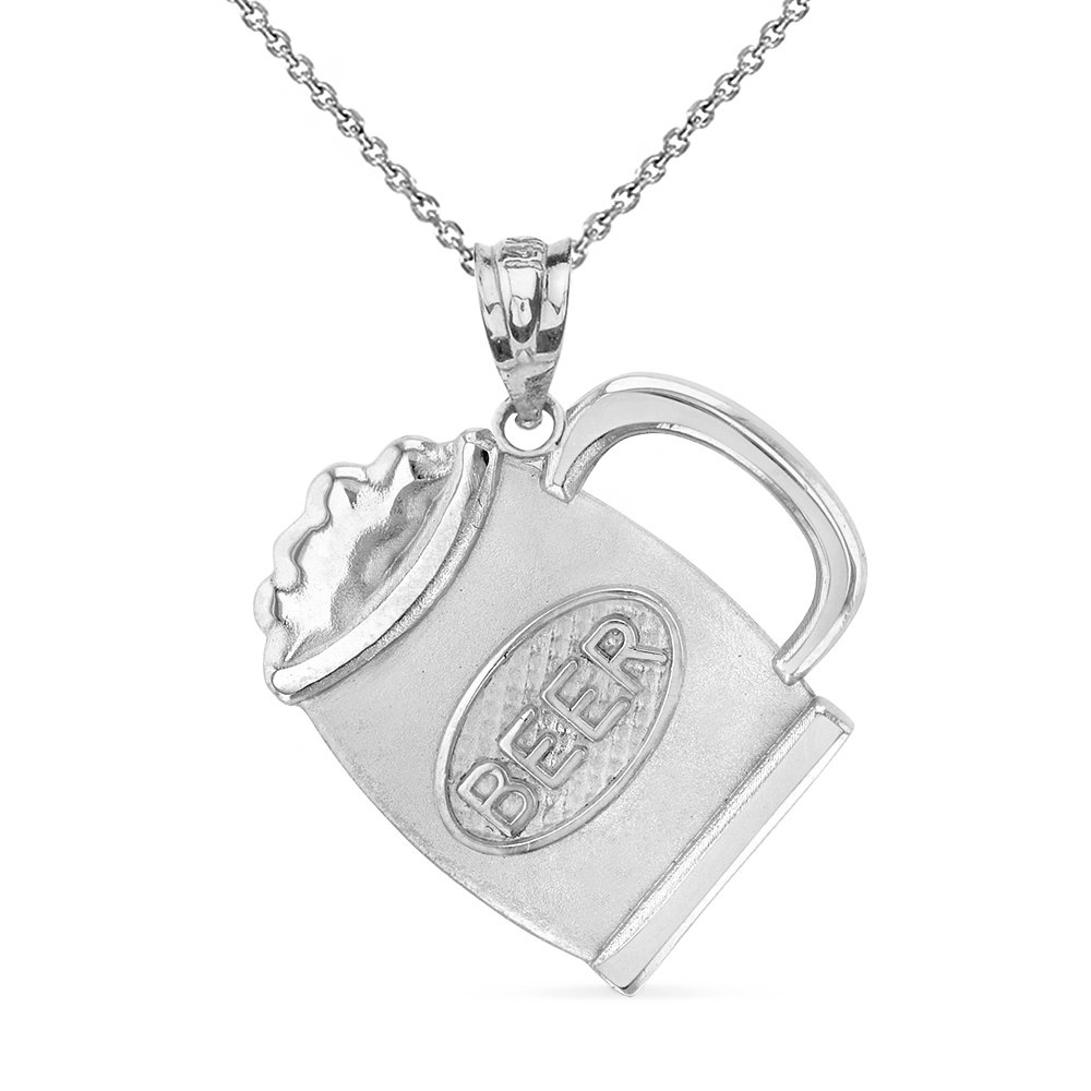 925 Sterling Silver Beer Mug Alcohol Jug Charm Pendant Necklace