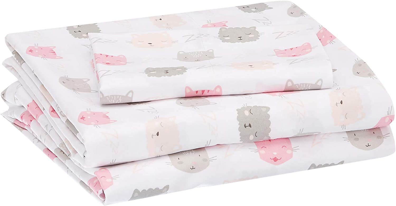 Amazon Basics Kids Pink Kitties Soft, Easy-Wash Microfiber Sheet Set – Twin, Peony Pink Kitties