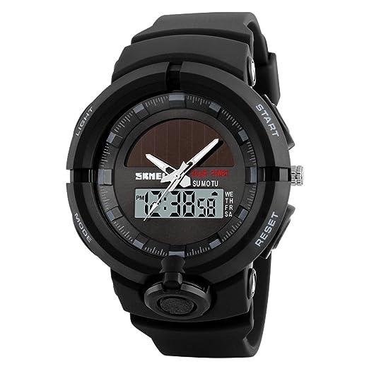 longqi reloj doble movimiento energía solar reloj hora dual calendario impermeable hombres reloj con correa de PU: Amazon.es: Relojes