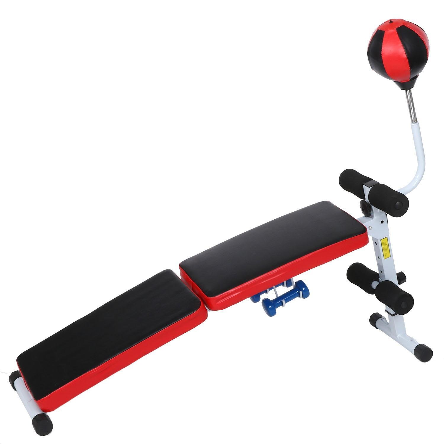 Sholdnut Adjustable Sit Up Bench Workout Utility Abdominal Crunch Board Weight Lifting with Speedball for Home Gym(US STOCK)