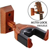 Ukulele Wall Mount Auto Lock Ukulele Hanger Hard Wood Base Ukulele Hangers For Wall UkuleleViolinBanjoMandolin wall Stand
