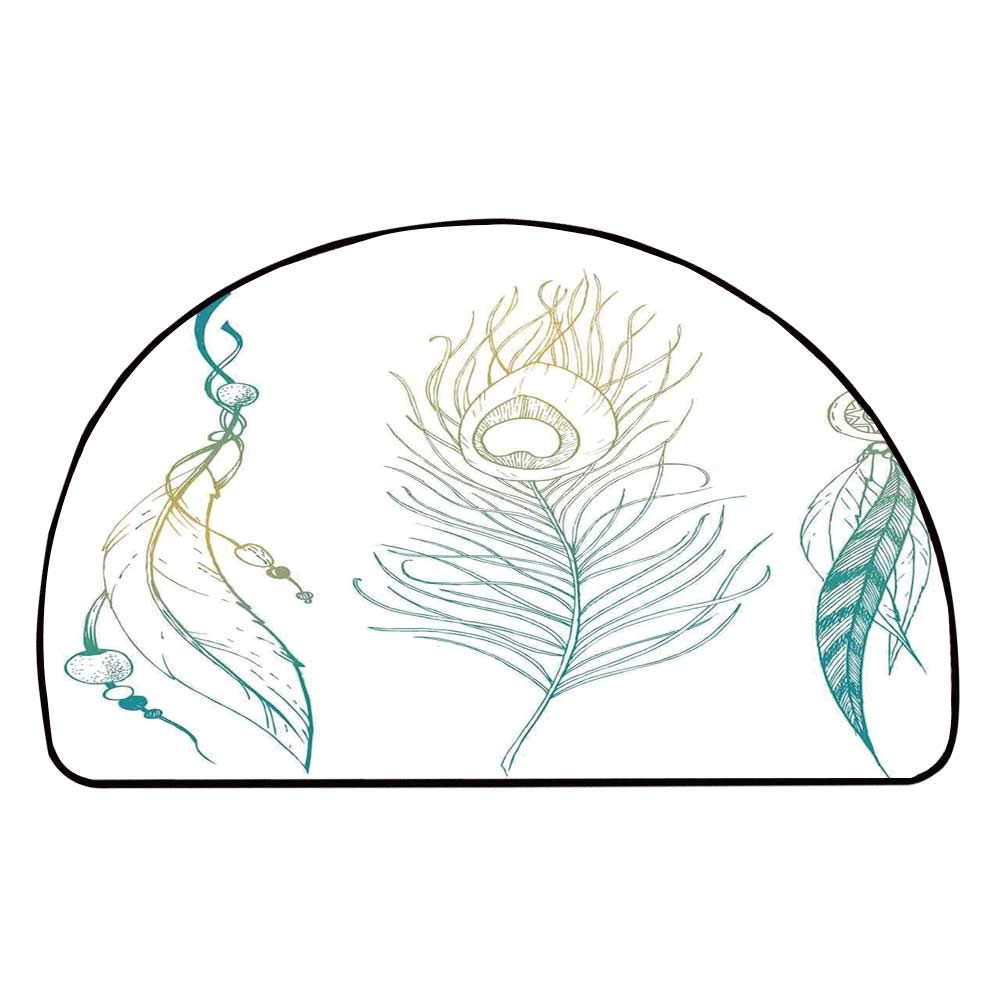 C COABALLA Feather House Decor Comfortable Semicircle Mat,Aesthetic First Nations Feather and Peacock Tail Traditional Design for Living Room,13.7'' H x 27.5'' L