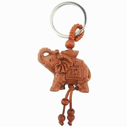 Muzuri - Llavero de madera, diseño de elefante de Fengshui ...