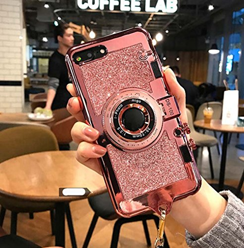 Price comparison product image UCLL iphone 7 plus case iphone 8 plus New Modern 3D Vintage Style Bling Camera Design Soft Cover For 5.5 iphone 7plus/iphone 8 Plus with Strap Rope and a Screen protector (pink)