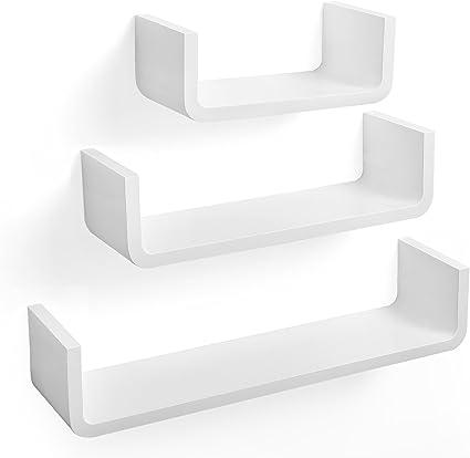 SONGMICS Estantería para Pared en Forma de U Set de 3 estantes flotantes Estanterías de Pared Cubos Retro Blanco LWS06WT