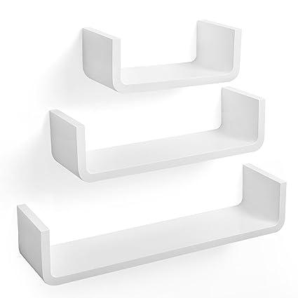 SONGMICS Wall Shelves Set of 3 U-Shaped Floating Shelves, 60 45 30 cm, MDF  Storage Unit, Max  Load Capacity 15kg White LWS06WT