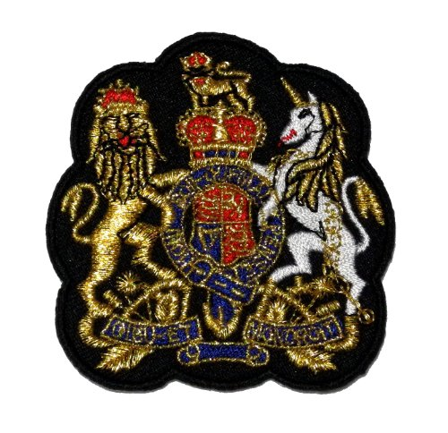 Gold Lion Unicorn Royal Crown Crest Coat of arms DIY Applique Embroidered Sew Iron on Patch COA-001