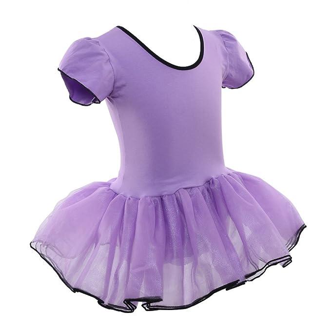 c41de0d1bd93 Amazon.com  LONGBLE Kids Girls One-Piece Ballet Dress Cotton Short ...