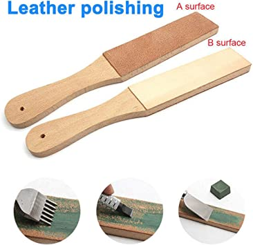 Wooden Double-Sided Paddle Strop Sharpening Polishing Compounds Wax Tool Kh* @fy