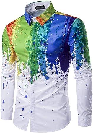 Dfghbn Hipster Geek para Hombre Psychedelic Splash-Ink Impreso en Forma de Cuello de Solapa Camisa de Manga Larga con Botones y Botones Camisa Casual con Cuello Abotonado (Color, tamaño : XL): Amazon.es: