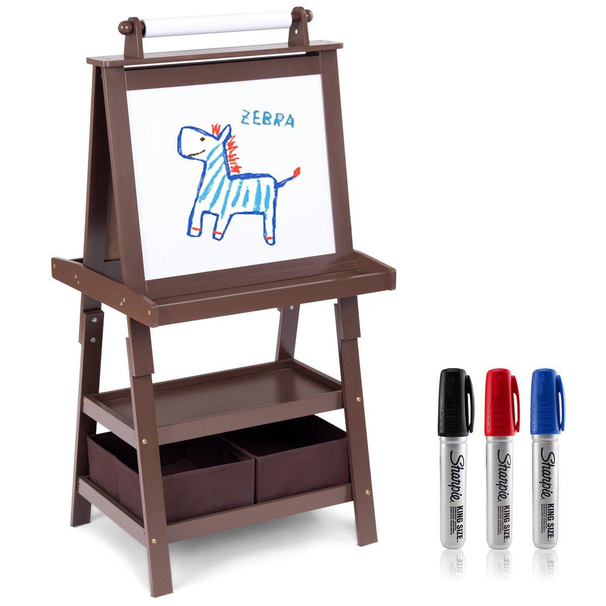 Caraya Standing Art Easel Black Whiteboard Kids Storage Box Painting Easel Paper Roll