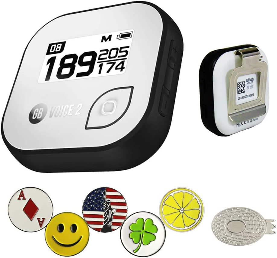Golf Buddy Voice 2 Golf GPS/Rangefinder Bundle with 5 Ball Markers and 1 Magnetic Hat Clip