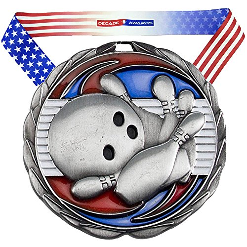 Decade Awards Bowling Color Epoxy Medal - Silver | Perfect for Bowling Tournaments | Includes Stars and Stripes American Flag V Neck Ribbon | 2.5 Inch Wide