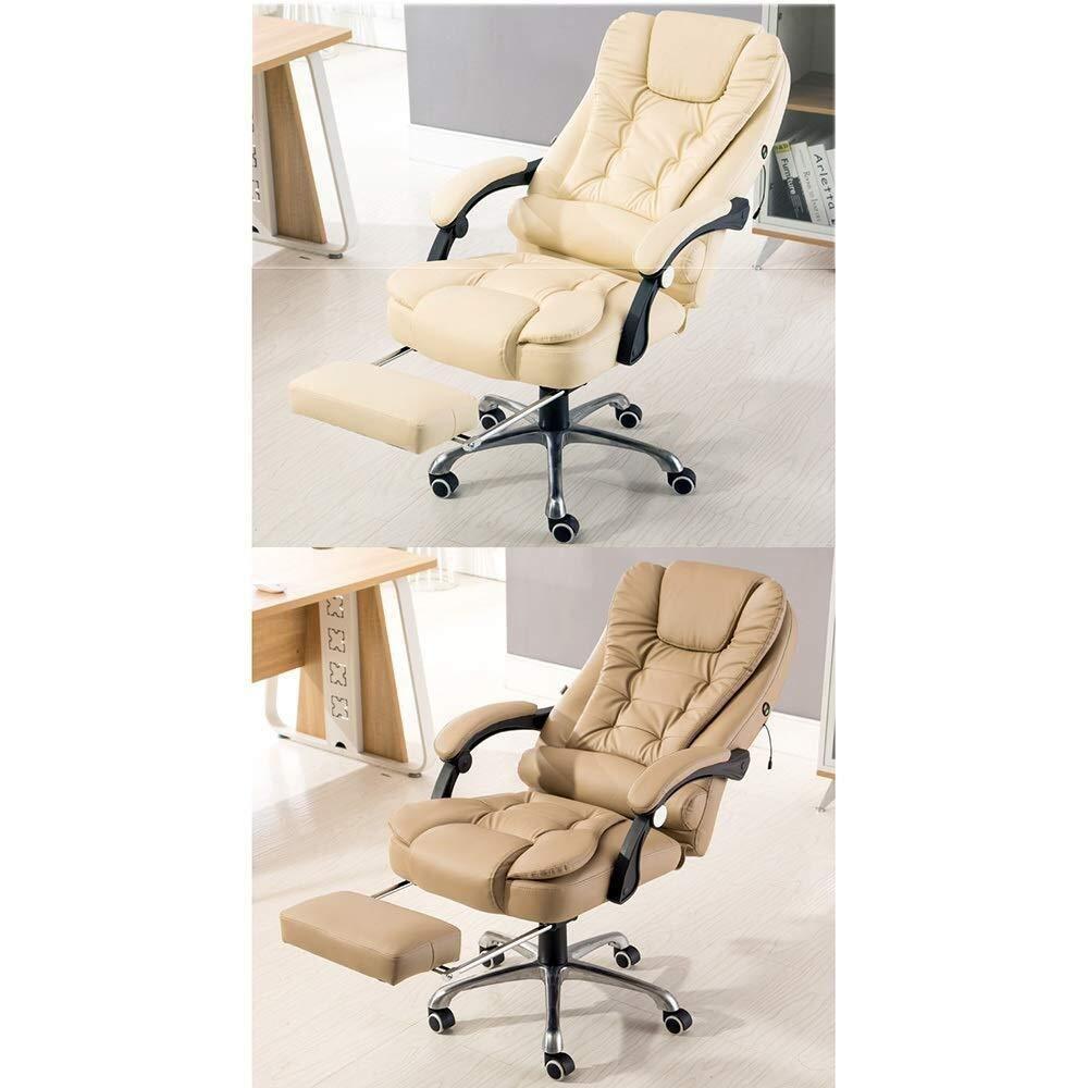 XKKD stol Recline PU läder stoppning skrivbordsstol med hög rygg stort säte och lutningsfunktion med utökad legstöd och vilstol bärkapacitet 150 kg (färg: Rosa) Brun