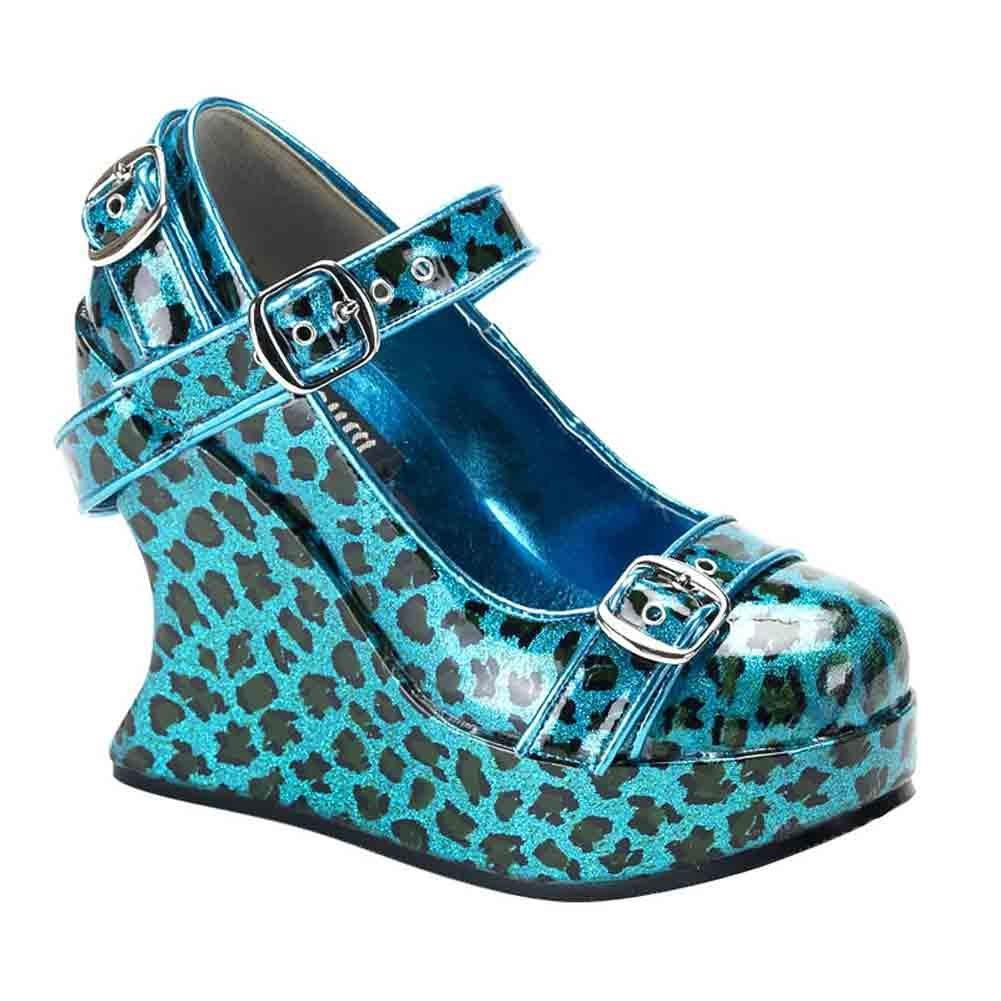 Demonia Pleaser Women's Bravo-10 Wedge Sandal B00HVA0CXC Cheetah 6 B(M) US|Turquoise Pearlized Cheetah B00HVA0CXC Glitter Pat f18b03