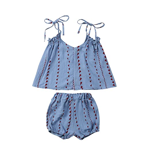 a4484f739763 Amazon.com  Toddler Infant Baby Girls Summer Shorts Outfit Strap Loose T  Shirt Top Dress+Bottom Brief Pants Clothes Set White  Clothing