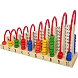 Trinkets & More Wooden Double-Sided Calculation Shelf Abacus with Counting Addition Subtraction Maths Toy, Above 3 Years (Multicolour)