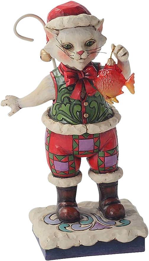 Jim Shore Christmas Cat w//Fish Holiday Figurine 4027766