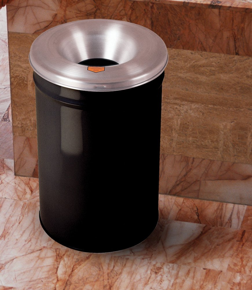 Justrite 26655K Cease-Fire Steel Paper Waste Receptacle with Aluminum Head, 55 Gallon Capacity, 24'' OD x 35-1/2'' Height, Black
