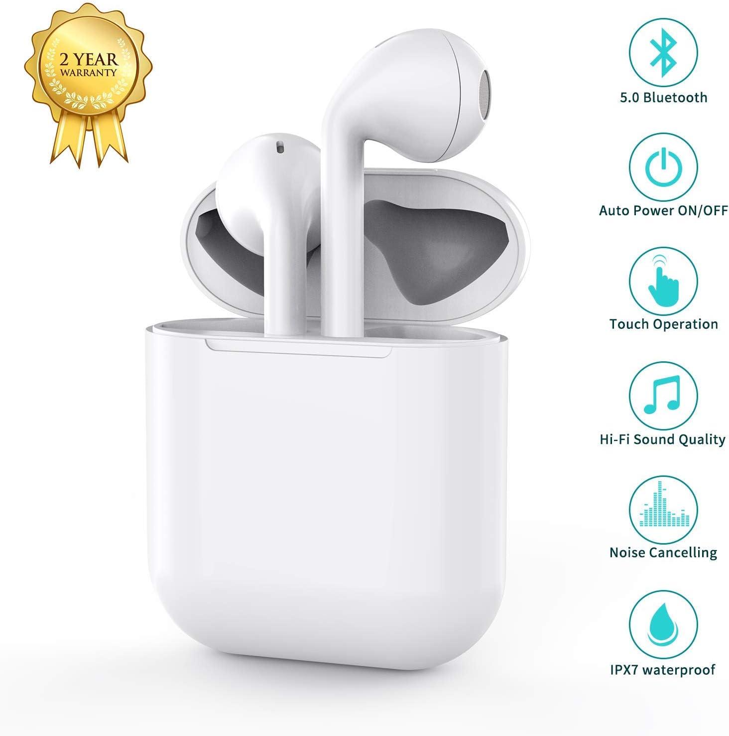 Auriculares Bluetooth5.0,Inalámbricos Deportivos Auriculares In-Ear Impermeable IPX7,Estuche de carga de 24 horas, reducción de Ruido estéreo 3D HD, para Apple/Airpods/Android/iPhone