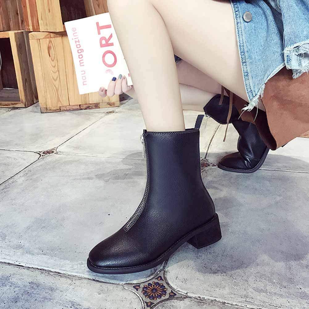 Stiefel Stiefeletten Kurz Stiefeletten Schuhe Winterstiefel Schlupfstiefel Warm Warm Warm Frau Beiläufige Lederstiefel Frontreißverschlussstiefel ZHAOYONGLI (Farbe   SCHWARZ, größe   37) 16dff6