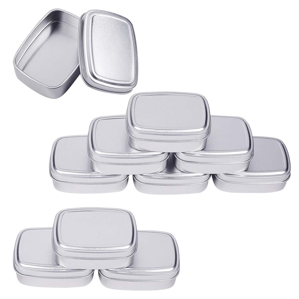 Platinum Favors and Crafts BENECREAT 10 Pack 2oz Tin Cans Rectangular Aluminum Containers with Solid Top Lid and Round Smooth Edges for Treats