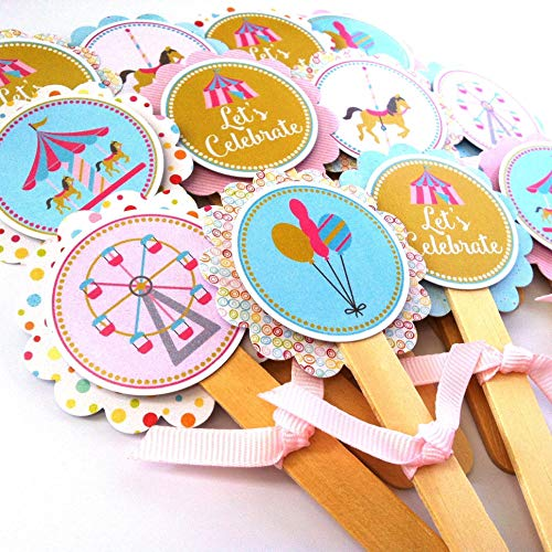 Carousel Cupcake Toppers - Girl Birthday Baby Shower Party Supplies - Set of 12