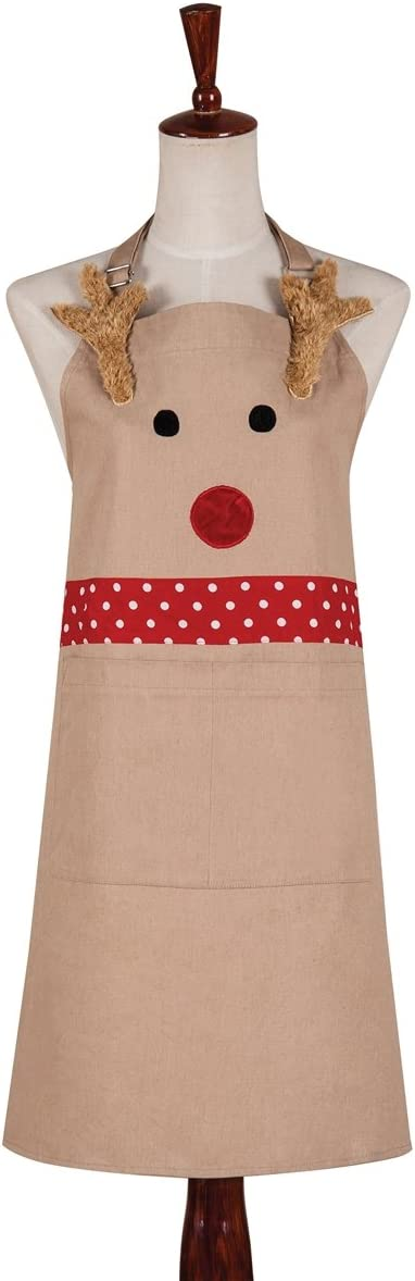 C&F Home 29x31 Canvas Christmas Apron, Reindeer