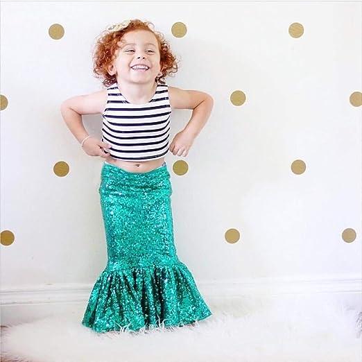 Vestido de sirena para niña, falda verde, para niños pequeños ...