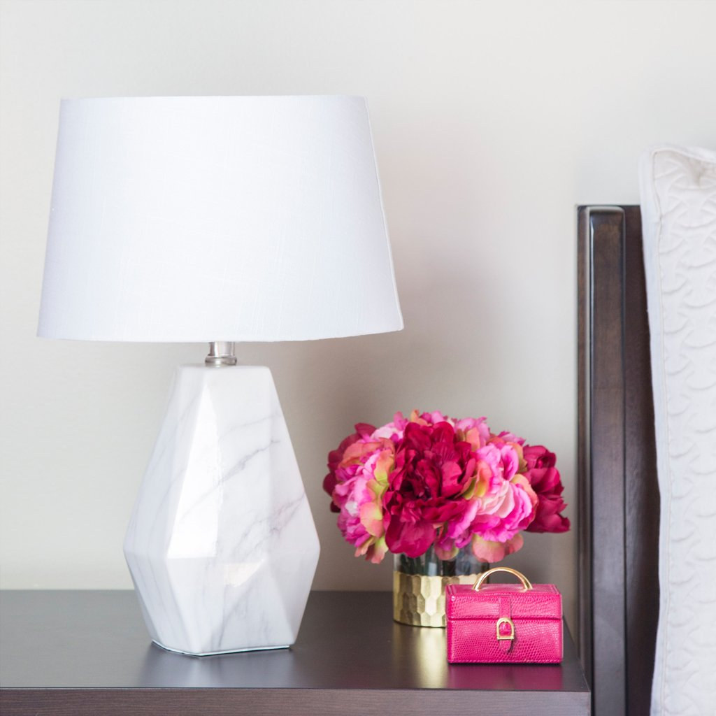 """18""""H White Linen Table Lamp with Faux Marble Base"""