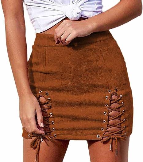 Writtian – Minifalda para mujer, de piel de ante, en la parte ...
