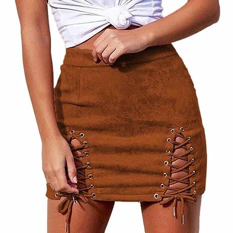 Writtian - Minifalda para mujer, de piel de ante, en la parte ...