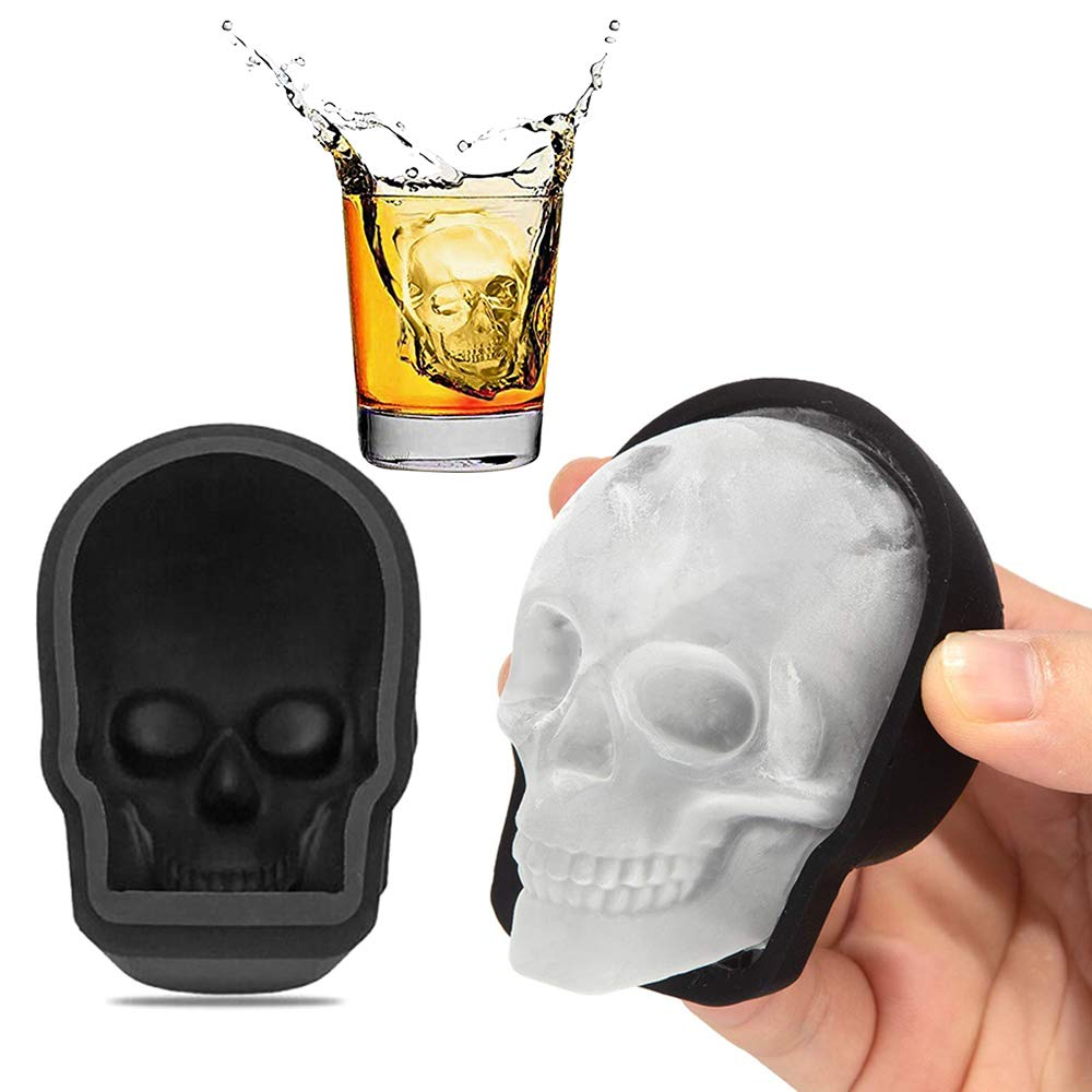 3D Skull Ice Mold, Large Silicone Skull Ice Cube Tray of 400ml Capacity, Durable Black Skull Ice Maker with Funnel for Whiskey, Bourbon, Cocktails, Beer, Perfect for Parties