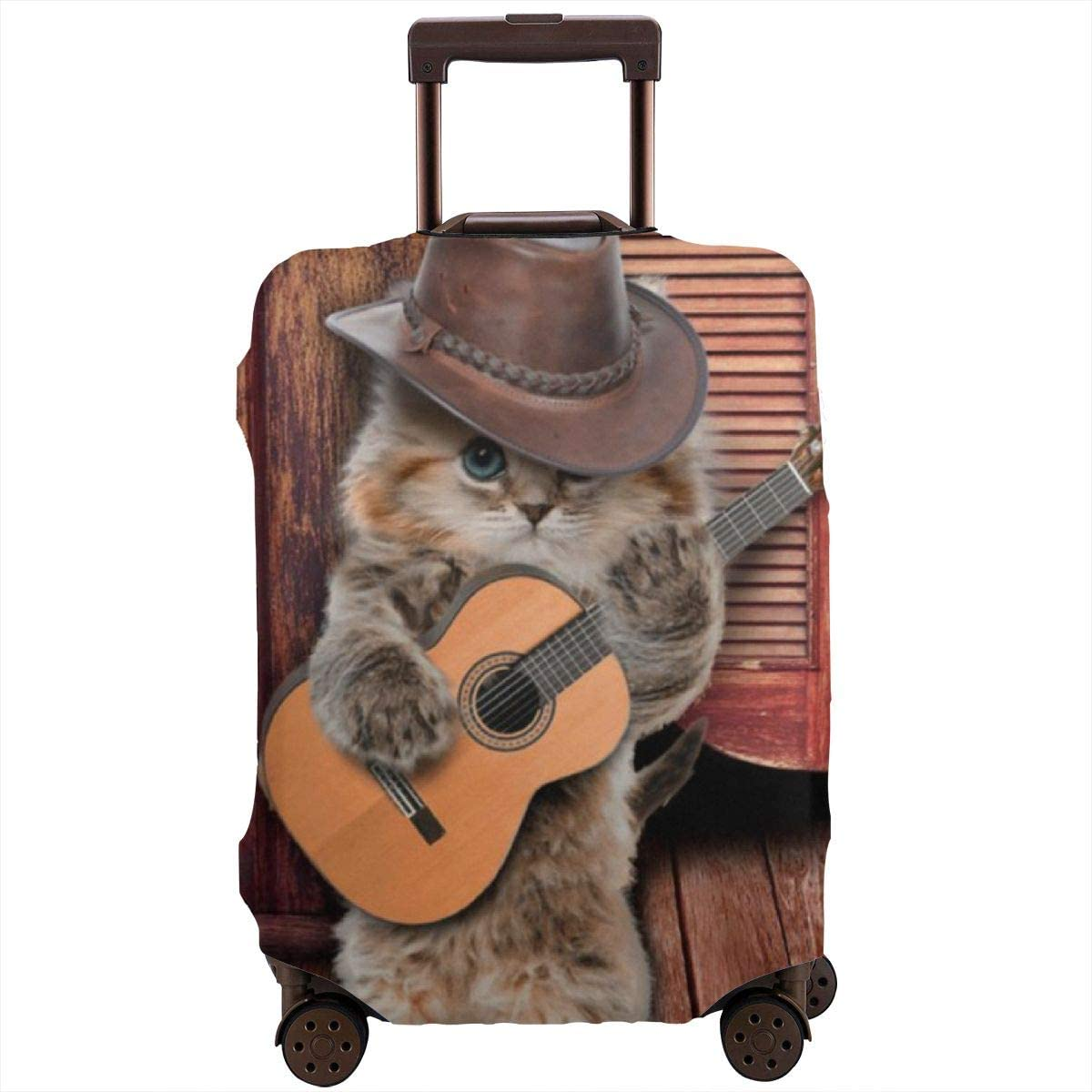 Luggage Cover Country Funny Guitarist Cat Play Guitar Protective Travel Trunk Case Elastic Luggage Suitcase Protector Cover