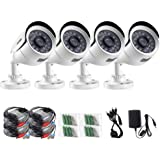 ZOSI 4 Pack HD-TVI 1280TVL 720p Security Camera Outdoor Indoor Home, Weatherproof HD