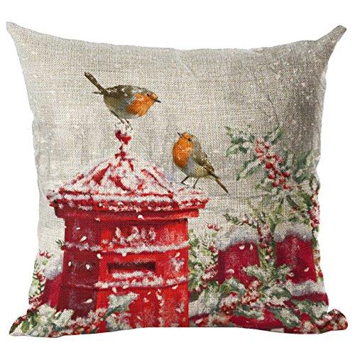 TOOGOO(R) La mas nueva decoracion casera del cojin Cubierta de funda de Almohada de Navidad de patron de Buzon y dos pajaros