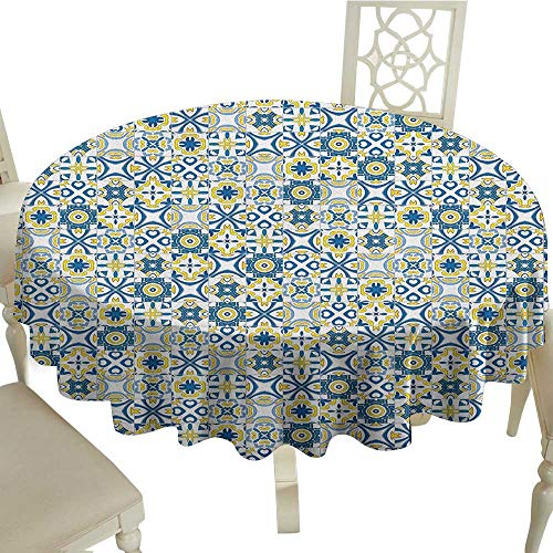 Clear Round Tablecloth 65 Inch Ethnic,Traditional Moroccan Mosaic Portuguese European Arabesque Medieval Pattern Blue Yellow White Great for,Coffee & More -