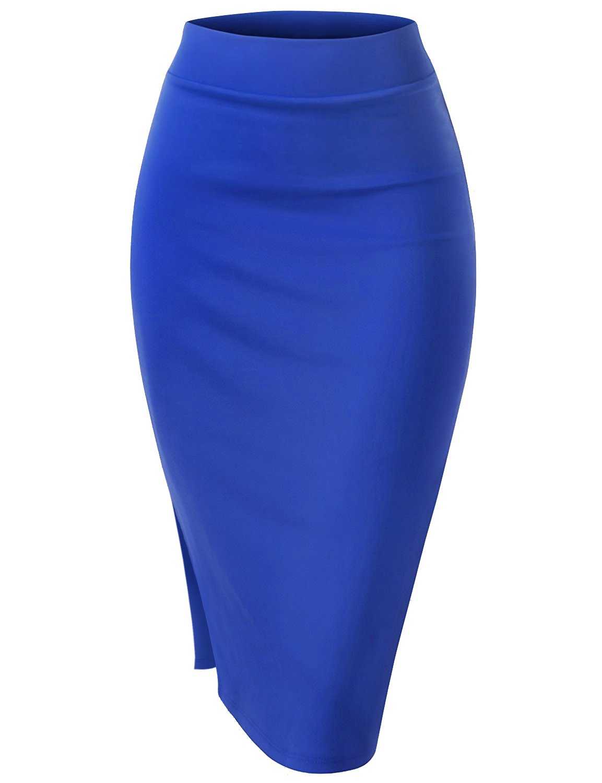Regna X Womens Slim fit Wear to Work S Shape Blue 2X Plus Size Bodycon Side Slit Midi Skirt