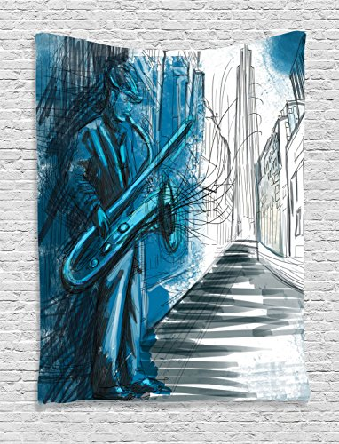 Jazz Cafe Halloween (Ambesonne Jazz Music Decor Collection, Saxophone Man Playing Solo in the Street at Night Vibes Grunge Home Decor, Bedroom Living Room Dorm Wall Hanging Tapestry, Dark Blue Black)